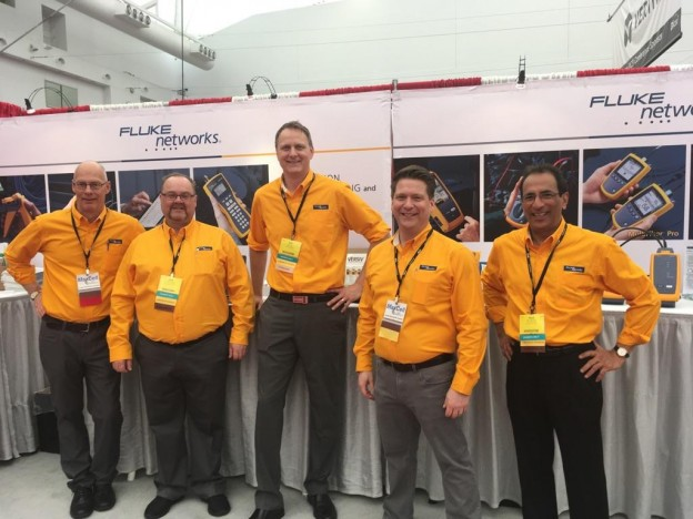 Left to right: Chuck Dykstra (Fluke Networks), Rick Neufeld (Keating Technologies), Eric Corej (Fluke Networks), Peter Hachey (Fluke Networks), Raul Villafranca (Keating Technologies)